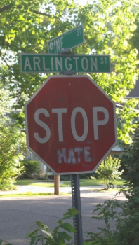Vandalized Stop Sign at Pine St and Arlington St, Jackson, MS